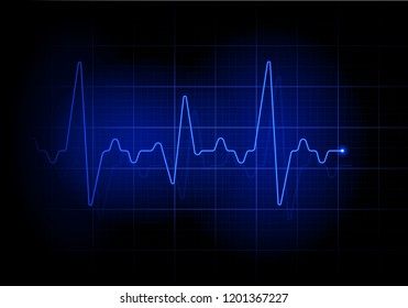 Blue futuristic heartbeat line