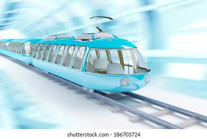 Blue futuristic speed train in cartoon childish style, train rides on a tunnel