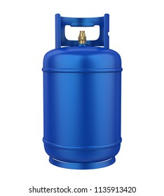 Blue Gas Cylinder Isolated. 3D rendering