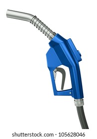 Blue gas pump nozzle  isolated on white background. 3D render.