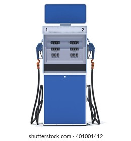 Blue gas pump on white background. 3d render. Isolated