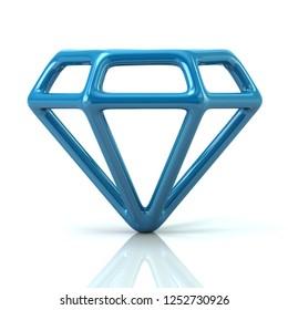 Blue gem icon 3d illustration on white background