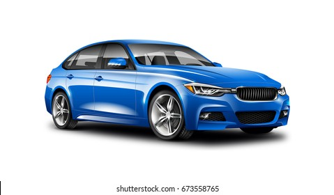 Blue Generic Sedan Car. With Isolated Path. 3d illustration.