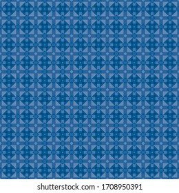 Blue Geometric pattern in repeat. Fabric print. Seamless background, mosaic ornament, ethnic style. Design for prints on fabrics, textile, surface, paper, wallpaper, interior, patchwork, wrapping.