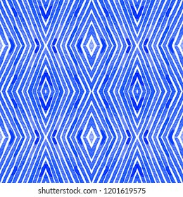 Blue Geometric Watercolor. Curious Seamless Pattern. Hand Drawn Stripes. Brush Texture. Uncommon Chevron Ornament. Fabric Cloth Swimwear Design Wallpaper Wrapping.