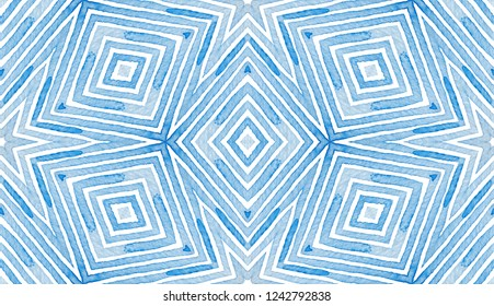 Blue Geometric Watercolor. Curious Seamless Pattern. Hand Drawn Stripes. Brush Texture. Favorable Chevron Ornament. Fabric Cloth Swimwear Design Wallpaper Wrapping.