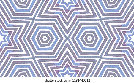 Blue Geometric Watercolor. Cute Seamless Pattern. Hand Drawn Stripes. Brush Texture. Emotional Chevron Ornament. Fabric Cloth Swimwear Design Wallpaper Wrapping.