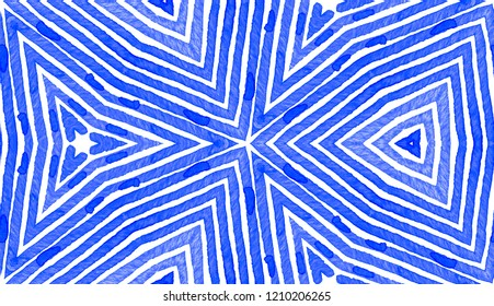 Blue Geometric Watercolor. Cute Seamless Pattern. Hand Drawn Stripes. Brush Texture. Favorable Chevron Ornament. Fabric Cloth Swimwear Design Wallpaper Wrapping.