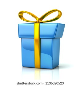 Blue gift box with golden ribbon and bow 3d illustration on white background
