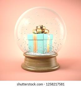 Blue gift box in snow ball 3D illustration