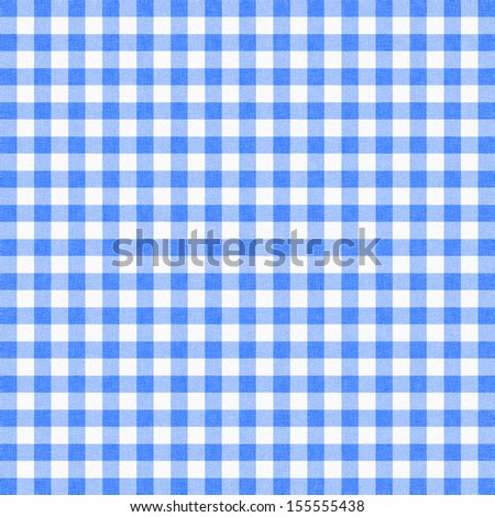 Blue Gingham Tablecloth Background Or Texture