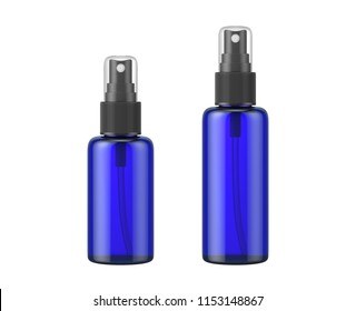 blue glass bottle spray isolated on white background, 3D rendering