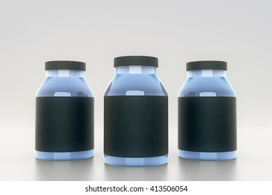 Blue glass bottles with empty black labels on light background. Mock up, 3D Rendering