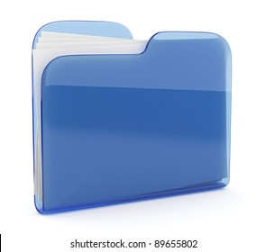 Blue glass folder. File 3D.  Icon isolated on white background