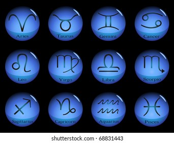 Blue glass spheres with western zodiac signs. Raster illustration.