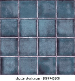 Blue glazed ceramic tile, Crackle glass mosaic tile, Background with glazed tile texture