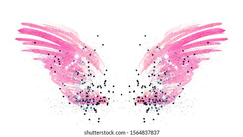 Blue glitter on abstract pink watercolor wings on white background, beautiful shiny feathers