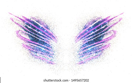 Blue glitter on abstract purple watercolor wings on white background, beautiful shiny feathers