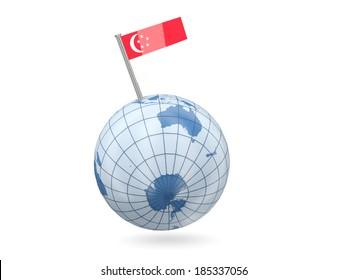 Blue globe with flag of singapore isolated on white
