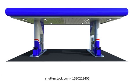Blue gloss gas station canopy 3d render