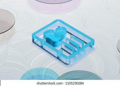 Blue Glossy Vcard Icon on White Oil Background With Color Circles. 3D Illustration of Blue v Card, v Card, Vcard, Vcard File, Vcard File Icon Set on the White Background.