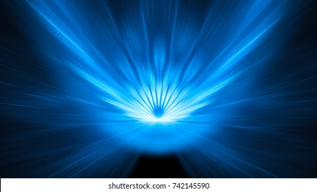 Blue glowing asteroid impact background with motion blur, 8k, computer generated abstract background, 3D rendering