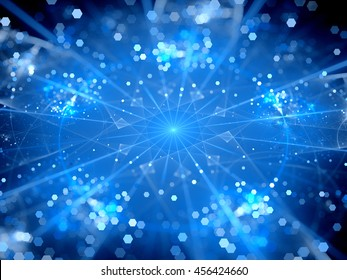 Blue glowing big data hubs , network theory, computer generated abstract background