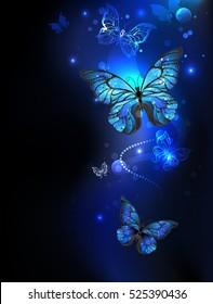 Blue, glowing butterflies morpho on dark background.
