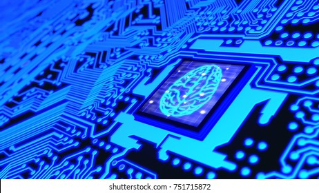 Blue glowing circuit board and a CPU with a brain symbol on top machine learning concept 3D illustration