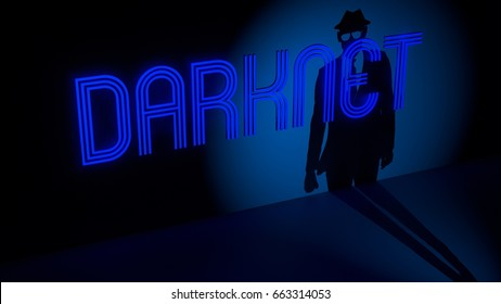 Blue glowing darknet neon sign on a dark wall and a spotlight with a hacker silhouette approaching information security concept 3D illustration