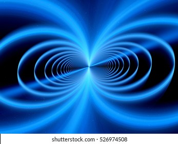 Blue glowing magnetic field fractal, computer generated abstract background, 3D rendering