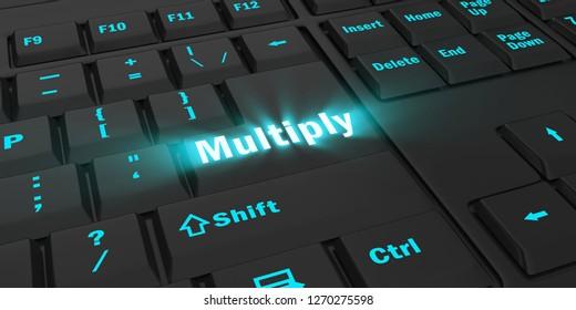 blue glowing Multiply key on black computer keyboard, 3d illustration