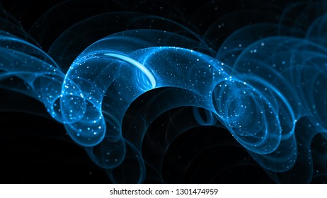 Blue glowing new technology loops in space, computer generated abstract background, 3D rendering