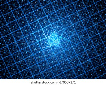 Blue glowing quantum computer with grid, computer generated abstract background, 3D rendering