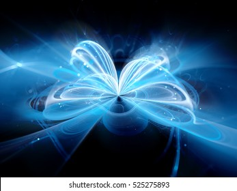 Blue glowing quantum illustration, computer generated abstract background, 3D rendering