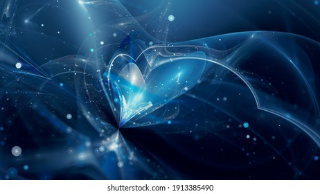 Blue glowing quantum world, computer generated abstract background, 3D background