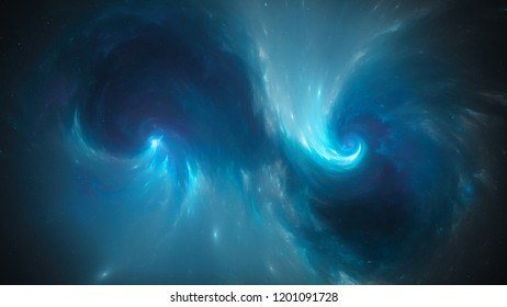 Blue glowing spiral singularities in space, computer generated abstract background, 3D rendering