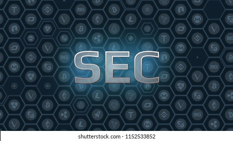 Blue glowing text on bitcoin and alt coins hexagon symbol background. SEC delays decision approving ETF fund causing crypto market stumble down