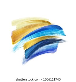 blue gold abstract brush strokes isolated on white background, golden glitter paint smear, hand painted artistic shapes, watercolor clip art
