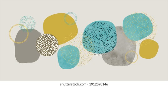 Blue gold and gray brown modern abstract background with circle watercolor blobs and blotches with speckled spatter dots and spots in black and gold art pattern in mid century circles style design