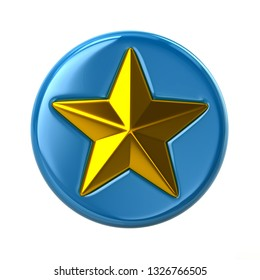Blue and golden star button 3d illustration on white background