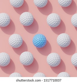 Blue golf ball color white many white golf ball on pink background color. minimal sport idea. 3D render.