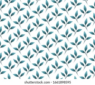 Blue gouache painted leaves, seamless pattern foliage in teal and white