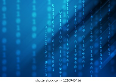 blue gradient color with binary code and stripe line, technology background
