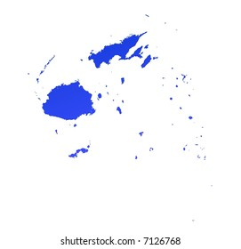 Blue gradient Fiji map. Detailed, Mercator projection.