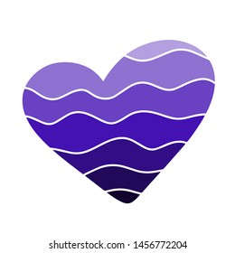 Blue gradient Heart calligraphic love sign wave. Romantic illustration symbol invitation wedding card.  Valentine day. Template for t-shirt print, fabric, texture Raster