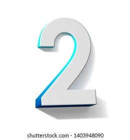 Blue gradient number 2 TWO 3D render illustration isolated on white background