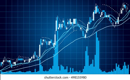 Blue Graph chart of stock market investment with indicator and volume trade , Forex concept