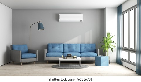 Blue and gray modern living room with sofa,armchair and air conditioner - 3d rendering