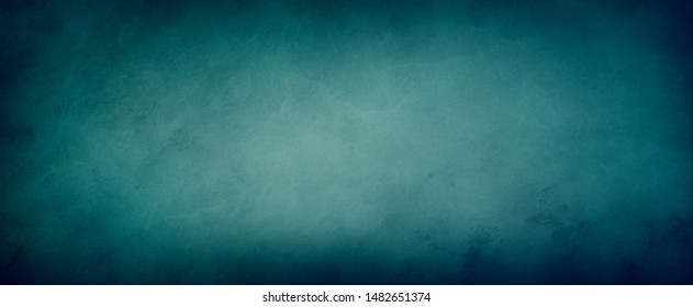 Blue green background with gorgeous colors and dark border with marbled soft lighting and texture design, elegant old vintage distressed background